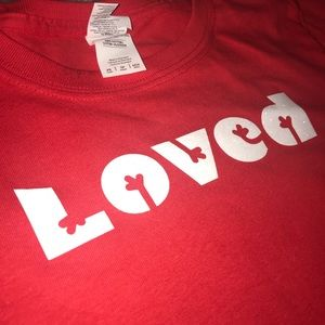 """Loved"" in sparkly letters T-shirt"